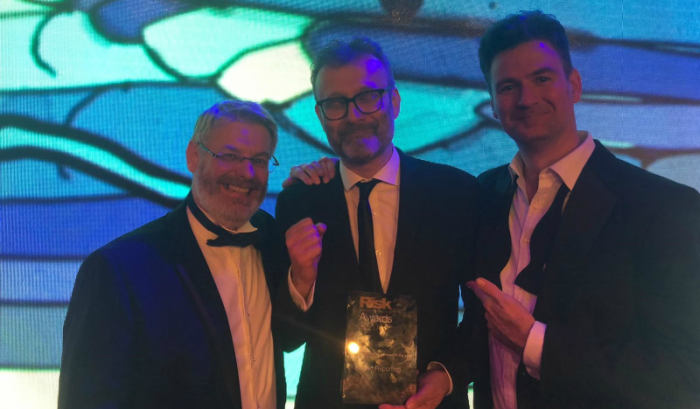 Kaizen Reporting founders Dario Crispini and Ian Rennie with Hugh Dennis at the Risk Markets Technology Awards