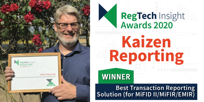 KAIZEN REPORTING WINS BEST TRANSACTION REPORTING SOLUTION AT REGTECH INSIGHT AWARDS 2020