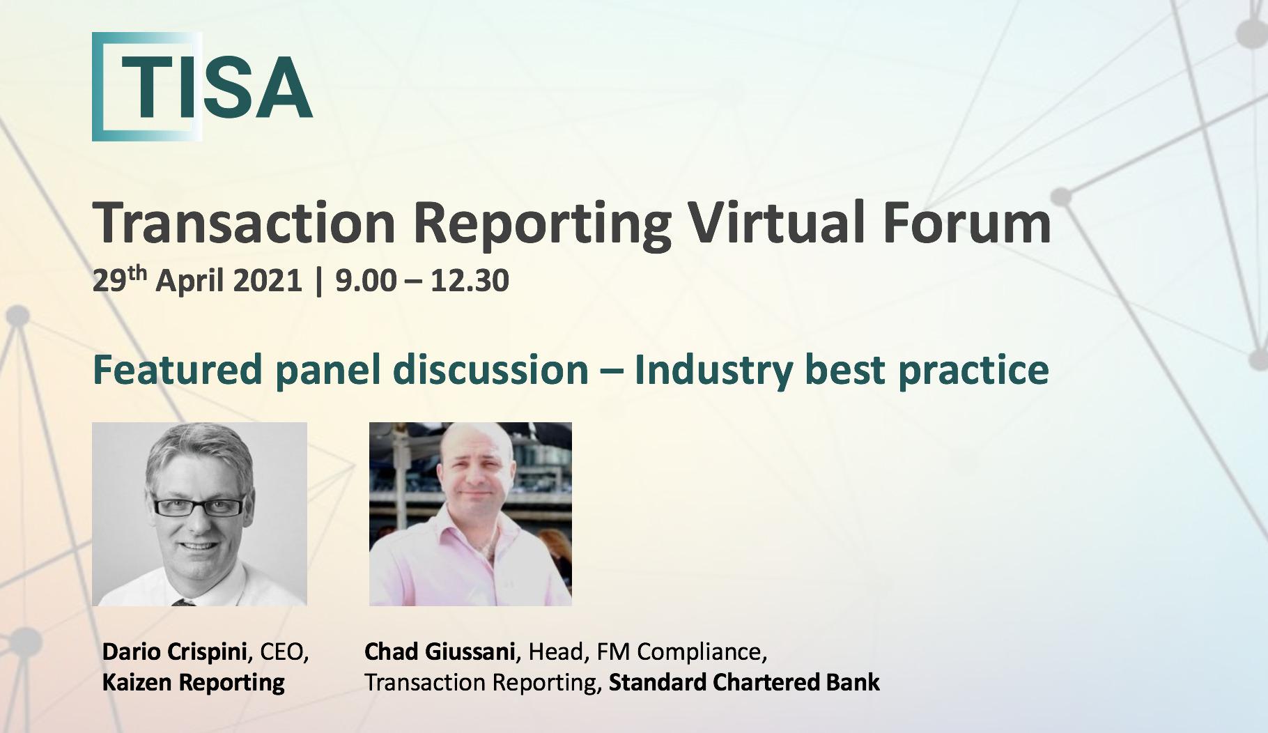 TISA Transaction Reporting Virtual Forum